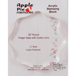 Clear Acrylic Block, 3.5 Round w/ Finger Grips -
