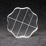 Clear Acrylic Block, 2.5 Round w/ Alignment Grid and Finger Grips -
