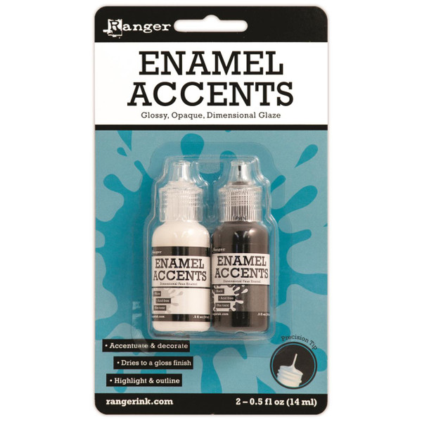 Enamel Accents - Black and White, Ranger Accents -