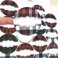 Overstock! Buffalo Plaid Round Poly Weatherproof Labels for EO Bottles or Lip Balm Tubes - 54 Labels