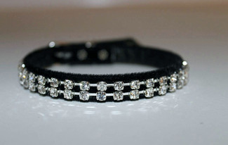 Austrian Crystal and Black Velvet Dog Collar