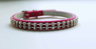 Austrian Crystal and Pink Velvet Dog Collar