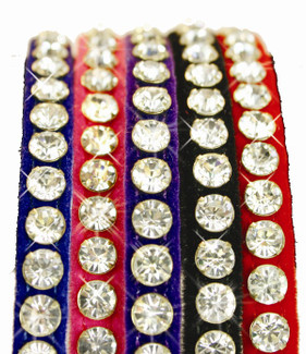 Luxury Majestic and Velvet Single Row Rhinestone Dog Collar