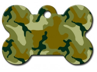 Green Camo Bone Shaped Dog ID Tag