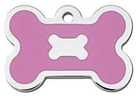 Chrome & Pink Epoxy Bone Dog ID Tag