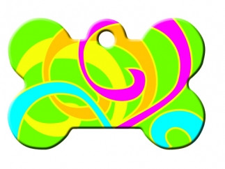 Neon Swirls Bone Dog ID Tag