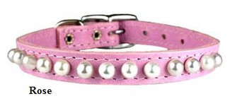 Pearl Pocket Pup Leather Dog Collars