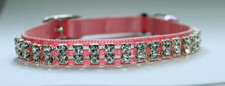 Austrian Crystal on Pink Nylon Cat Collar
