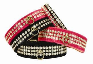 Luxury Majestic Velvet & Rhinestone Dog Collar