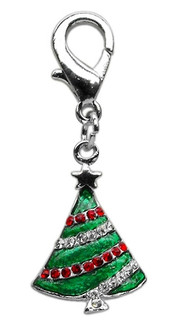 Rhinestone Christmas Tree Pet Collar Charm