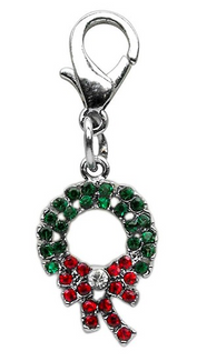Rhinestone Christmas Wreath Pet Collar Charm