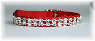 Austrian Crystal and Red Velvet Dog Collar