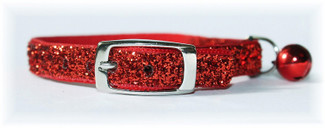 Ruby Red Glitter Glamour Cat Collar