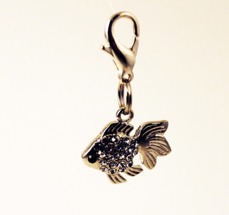 Silver & Crystal Fish Charm
