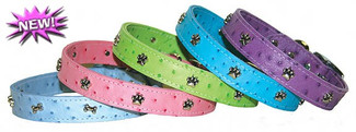 Leather Faux Ostrich Dog Collars