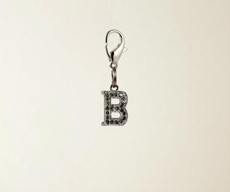 Silver Rhinestone Initial Charms for Pet Collars