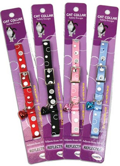 Reflective Safety Stretch Cat Collars in 3 fabulous reflective styles with  bubbles.    Collar colors are black, red, pink anbd blue.  Unlike the snap closure of the breakaway collar, this collar has a buckle with an elastic piece attached near the buckle so if your cat gets in a bind, the collar will stretch enough for a quick and safe escape.  Collars are 3/8 inch wide and fit a 10-12 inch neck size.  Bright white reflective material on each to keep kitty seen and safe. Made in the USA!ive Safety Stretch Cat Collars in Bubbles Design