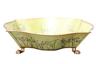 Beautiful Hand Painted Dragonfly Footed Container Bowl 13.25""