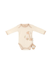Eotton Certified Organic Cotton Baby Bodysuit w/ Long Sleeves - Giraffe