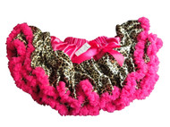 V Flourish Leopard with Hot Pink Waist and Hot Pink Ruffle Petti Baby, Toddler, and Child Tutu Skirt