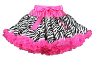 V Flourish Zebra with Hot Pink Waist and Hot Pink Ruffles Petti Baby & Toddler Skirt Tutu