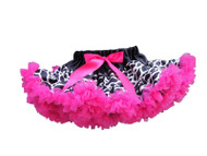 V Flourish Black Giraffe with Black Waist and Hot Pink Ruffles Petti Toddler and Baby Skirt Tutu