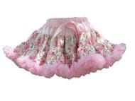 V Flourish Floral with Light Pink Ruffles Petti Skirt