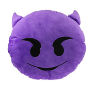 Emoticon Emoji Purple Round Cushion Pillow Stuffed Plush Toy Doll Demon