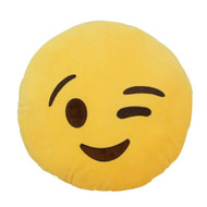 Emoticon Emoji Yellow  Round Soft Cushion Pillow Stuffed Plush Toy Doll Wink