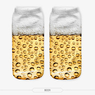 Beer One Size Fits All Ankle Polyester Socks White