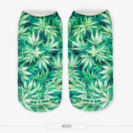 Weed One Size Fits All Ankle Polyester Socks Green