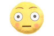 Emoticon Emoji Soft Yellow Round Cushion Pillow Stuffed Plush Toy Flushed