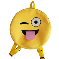 Emoticon Emoji Backpack Round Plush Tongue