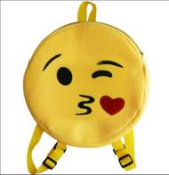 Emoticon Emoji Backpack Round Plush Kiss Face