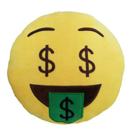 Emoticon Emoji Soft Yellow Round Cushion Pillow Stuffed Plush Money