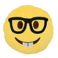 Emoticon Emoji Soft Yellow Round Cushion Pillow Stuffed Plush Nerd