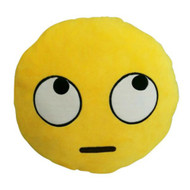 Emoticon Emoji Soft Yellow Round Cushion Pillow Stuffed Plush Rolling Eyes