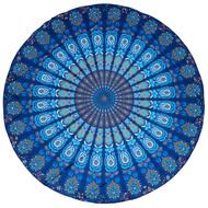 Rolling Aqua Round Blue Geometric Beach Throw Blanket