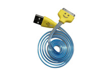 Smiley Micro USB Cable LED Light Up Color Change USB Data Sync Charging Cable with Colored Ends for iPhone 4