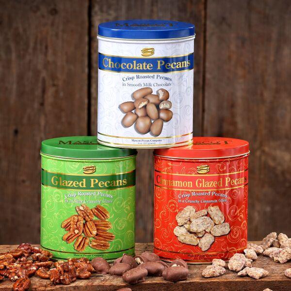8oz tin of chocolate covered pecans, 8oz tin of glazed pecans, and 8oz tin of cinnamon glazed pecans