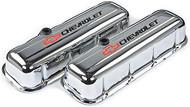 Chevrolet Big-Block V-8, 1965–1996 - Stamped Valve Covers - Chevrolet Big-Block V-8, 1965–1996 - Chrome, tall, with baffle, black/red