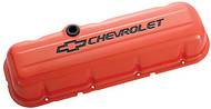 Chevrolet Big-Block V-8, 1965–1996 - Stamped Valve Covers - Chevrolet Big-Block V-8, 1965–1996 – Chevy orange, tall, with baffle