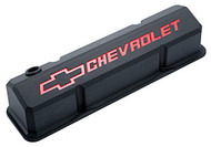 Chevrolet Small-Block V-8, 1958-1986 - Slant-Edge Die-Cast Valve Covers - Black crinkle, recessed logo