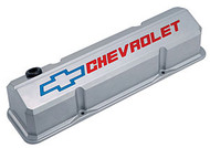 Chevrolet Small-Block V-8, 1958-1986 - Slant-Edge Die-Cast Valve Covers - Metallic gray, recessed logo