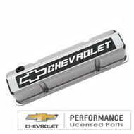 Chevrolet Small-Block V-8, 1958-1986 - Slant-Edge Die-Cast Valve Covers - Polished, raised logo