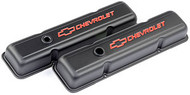 Chevrolet Small-Block V-8, 1958–1986 - Stamped Valve Covers - Black crinkle, short, with baffle