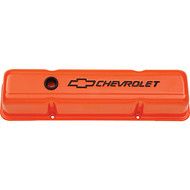 Chevrolet Small-Block V-8, 1958–1986 - Stamped Valve Covers – Chevy orange, tall, with baffle