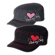 "LADIES ""I LOVE MY CHEVY"" MILITARY STYLE CAP"