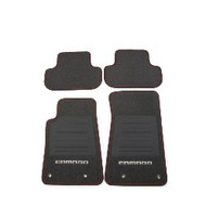 Floor Mats - Front and Rear Premium All Weather - Premium Carpet - Black Carpet, White Camaro Logo, Red Edging