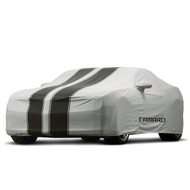 Vehicle Cover - Outdoor - Gray with Black Stripes, Camaro Logo - Convertible